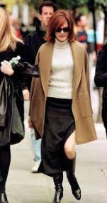 Renee in a camel coat
