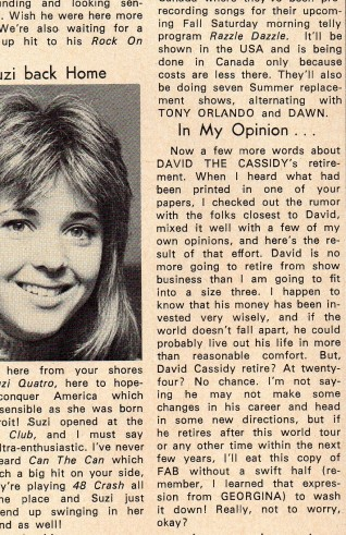 The Janey from Hollywood column - David Cassidy gossip (and a picture of Suzi with a DC haircut)