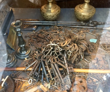 For C - Old keys in an Antique Shop window