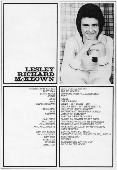 Lesley's bio from the Rollin' tour programme